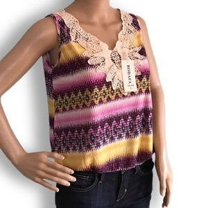 Sleeveless silk embroidered multicolor blouse NWT